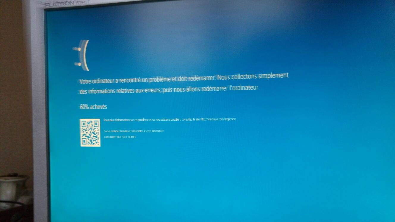 Votre ordinateur a rencontre un probleme