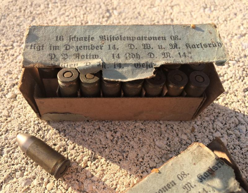 2 boîtes (abîmées) de cartouches pour P08 de 1917 7ZnQQ