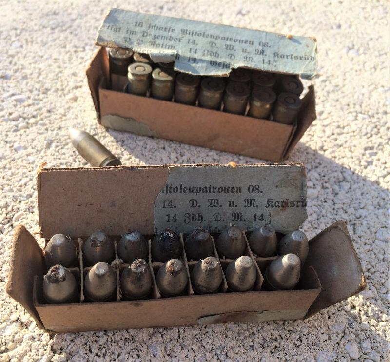 2 boîtes (abîmées) de cartouches pour P08 de 1917 A92Q3