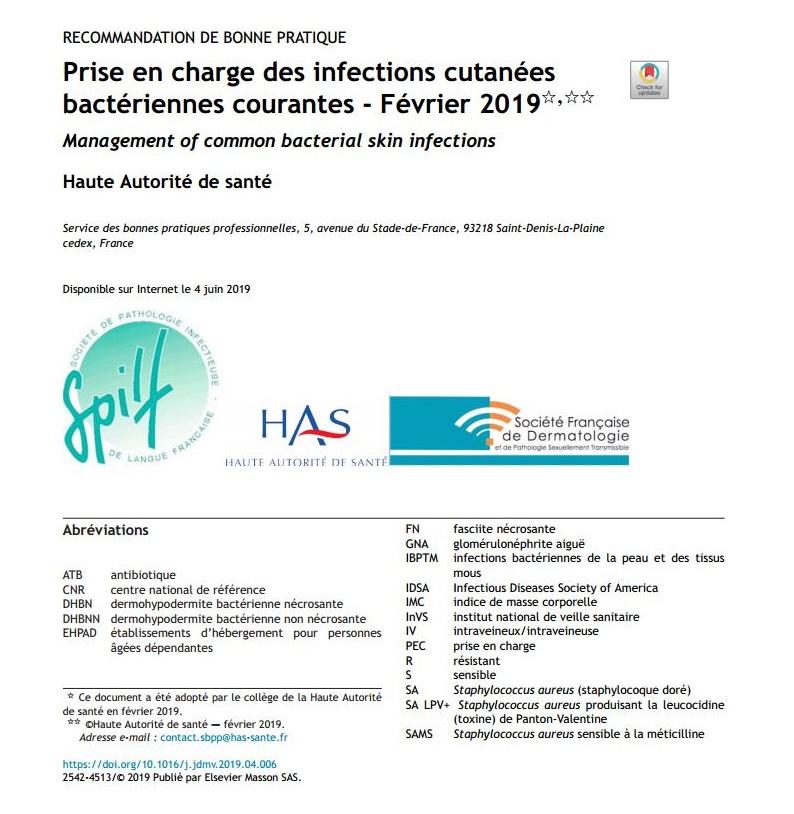 Prise en charge des infections cutanées bactériennes courantes - Février 2019  EQkND