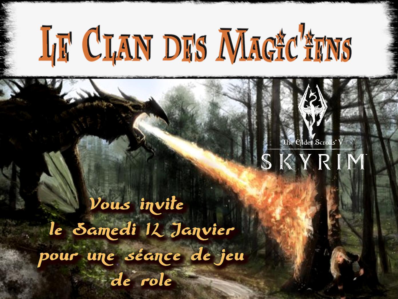 Samedi 12 Janvier : Jeu de rôle (Skyrim) à partir de 14h 8YEX7