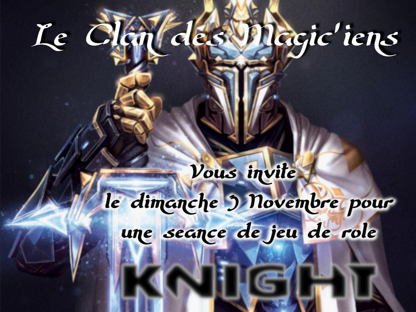 Dimanche 3 Novembre : jeu de Rôle (Knight) à partir de 14h ARvog