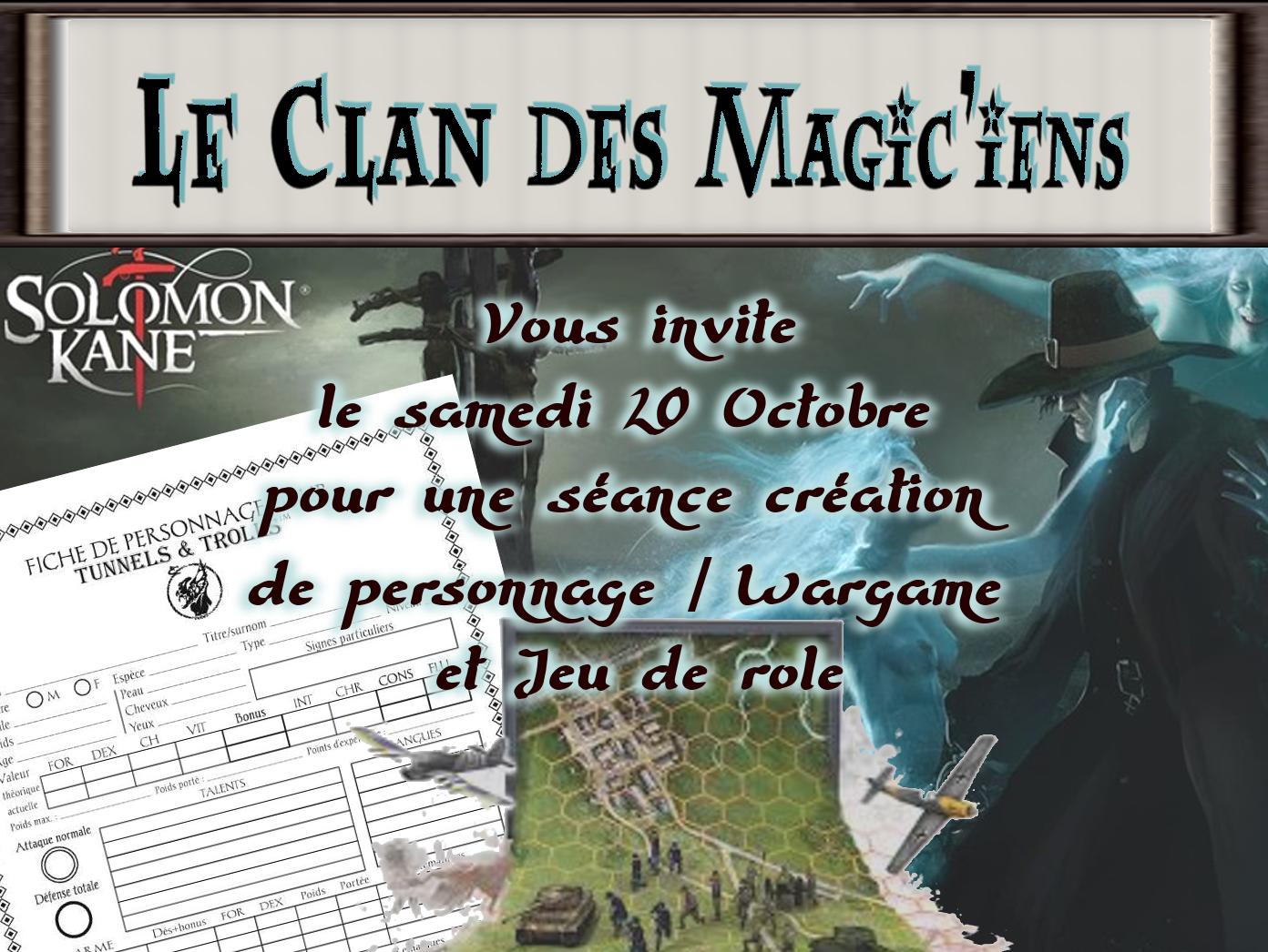 Samedi 20 Octobre : Création de persos / Wargame et Jeu de role (Solomon Kane) à  partir de 14h KODr3