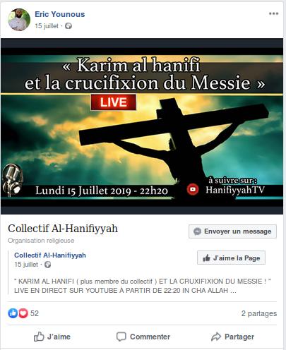 Le prédicateur antichrétien et antisémite Éric Younous prend la défense de l'islamiste Rachid Eljay dans Politique NEb4g