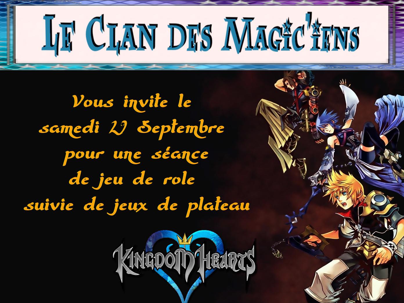 Samedi 29 Septembre : Jeu de Rôle : Kingdom Hearts et Jeux de plateau PmWPn