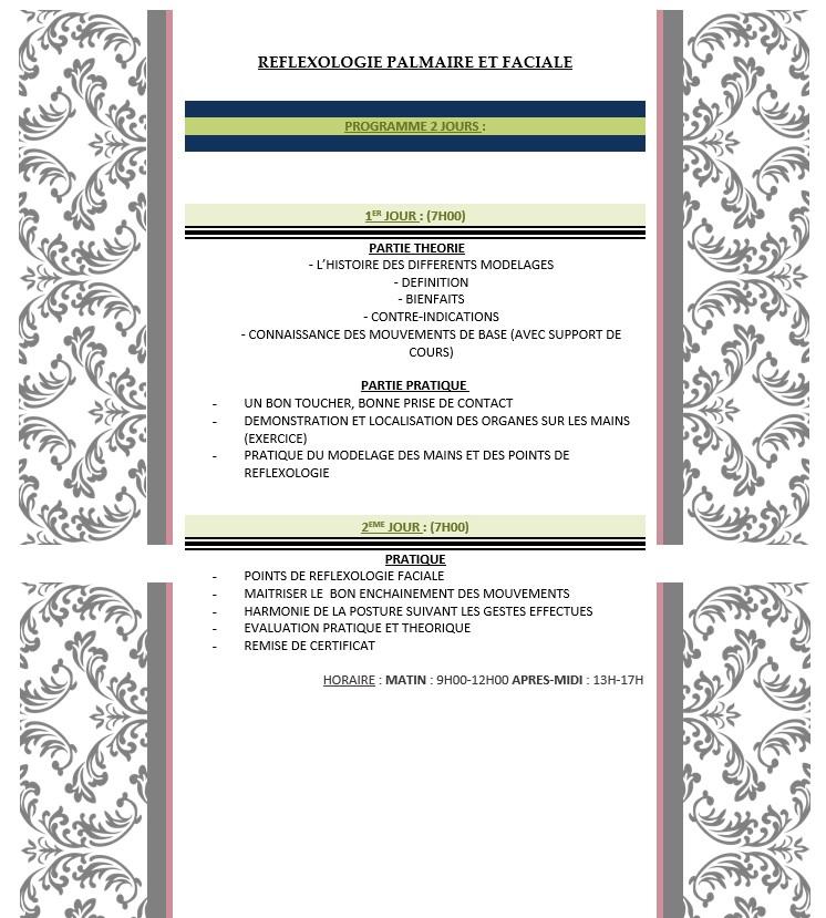 Formation réflexologie palmaire et faciale