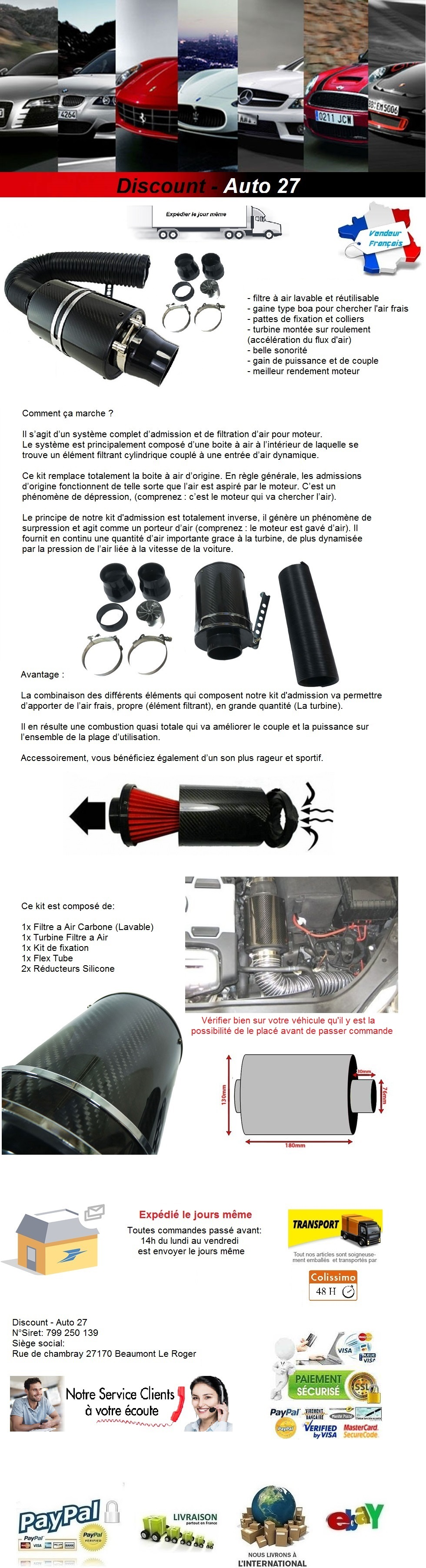 KIT ADMISSION DIRECT UNIVERSEL CARBONE BOITE FILTRE A AIR TUNING AUDI TT 8N