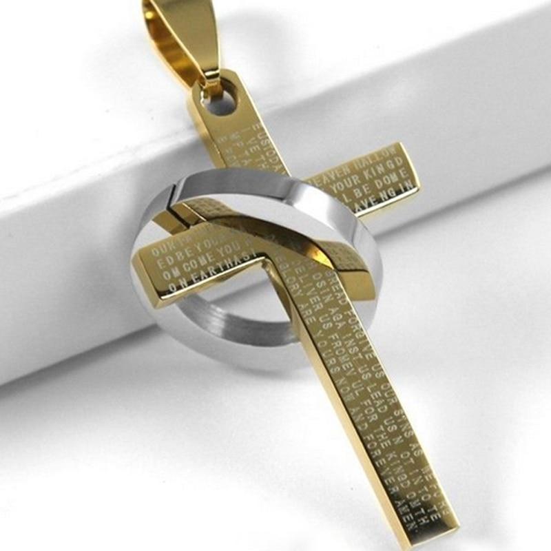 Collier Mode Acier Inoxydable Pendentif Christ Bible Prière Croix Homme Bijoux