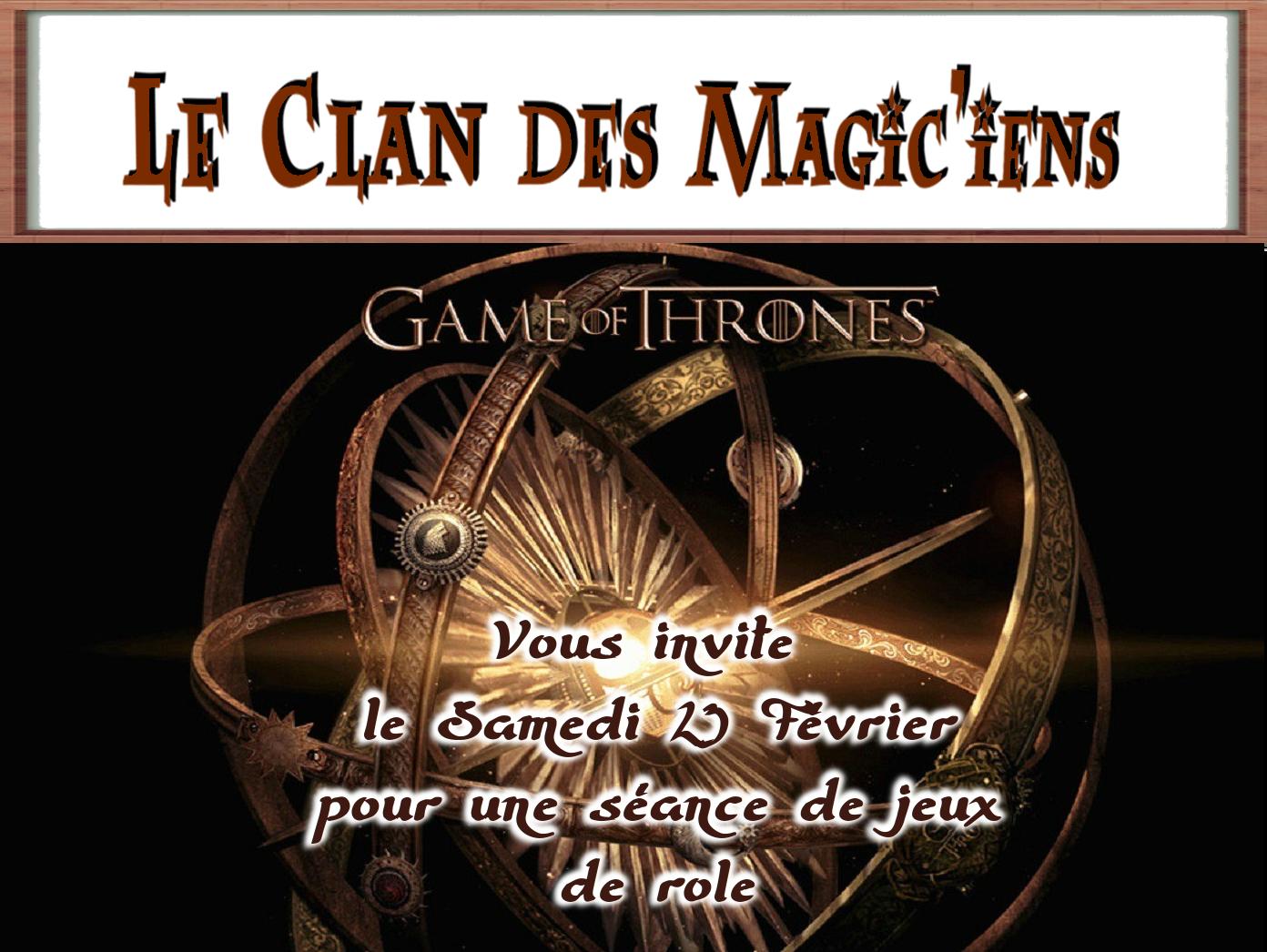 Samedi 23 Février : Jeu de rôle (Le Trone de Fer) à partir de 14h DaxLJ