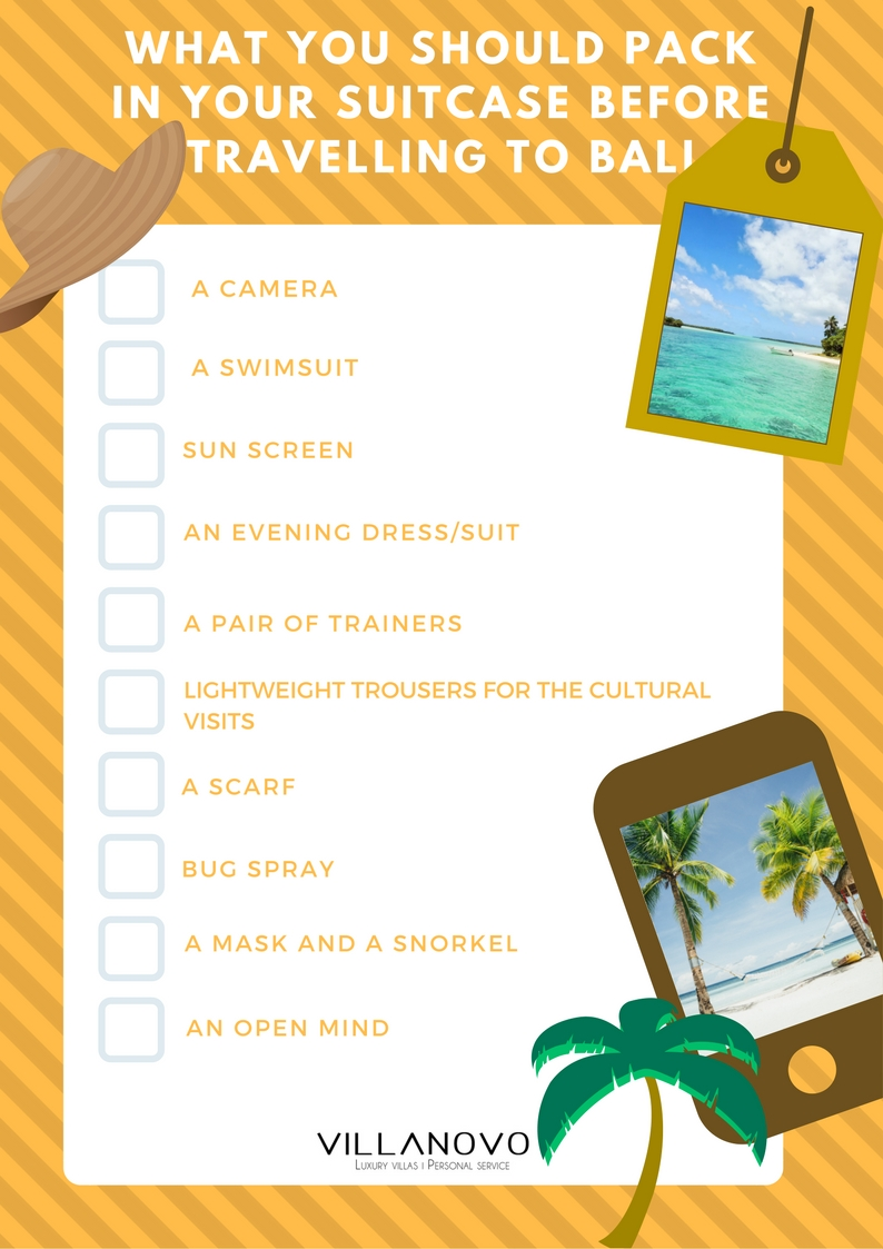 checklist before travelling to Bali