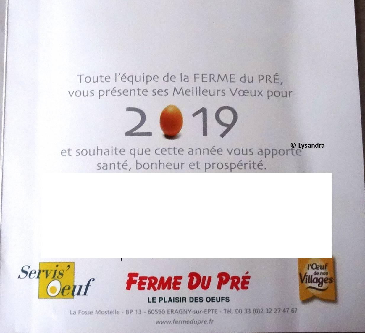 Carte de voeu ferme du Pré 2019 JXknR