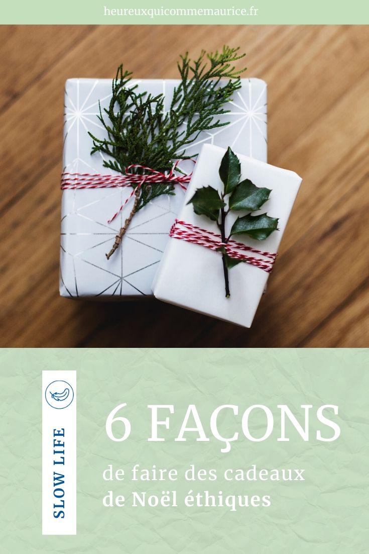 cadeaux de Noël éthiques minimalistes zéro déchet
