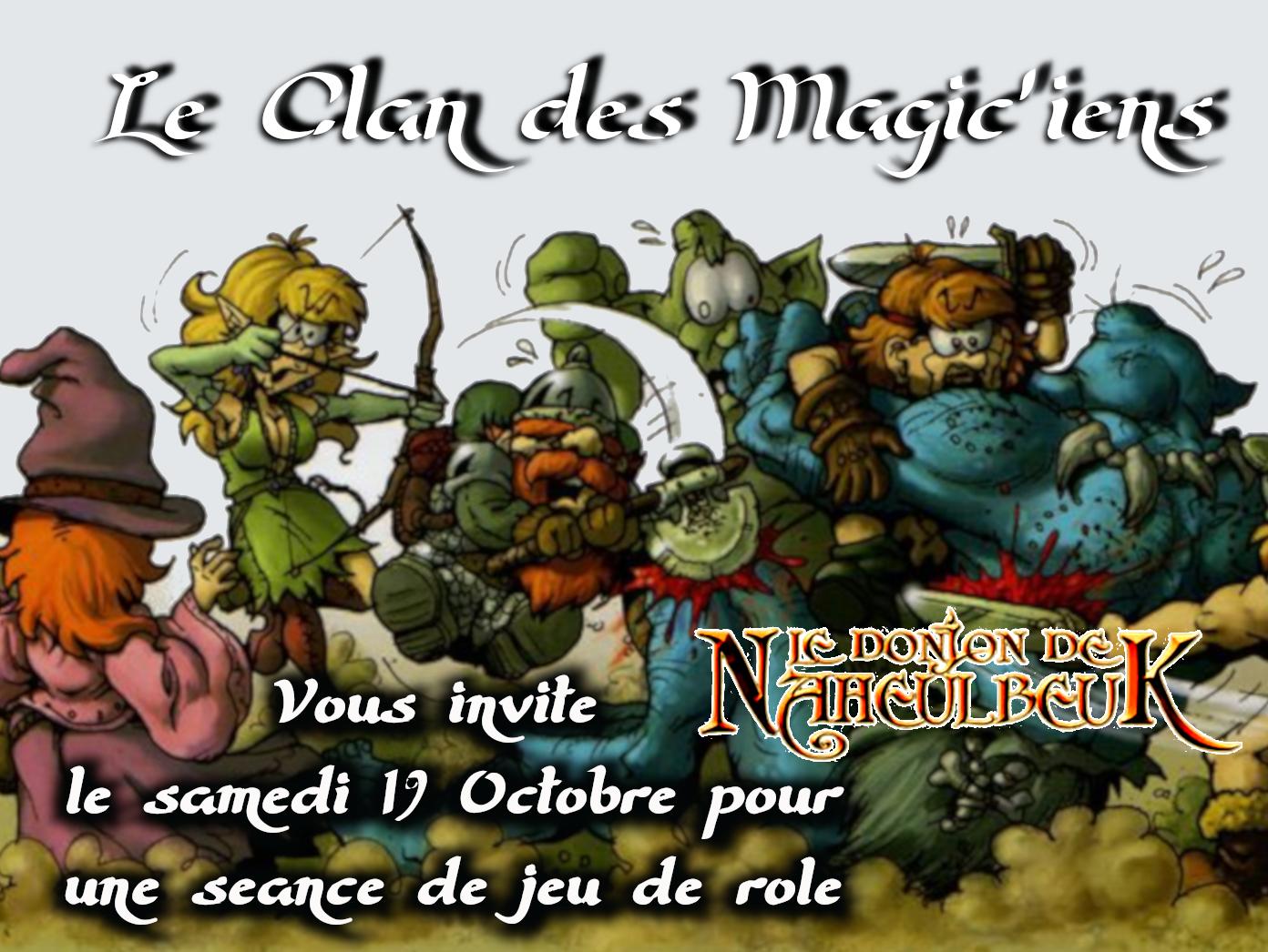 Samedi 19 Octobre : Jeu de rôle (Le Donjon de Naheulbeuk) à partir de 14h Jmeny
