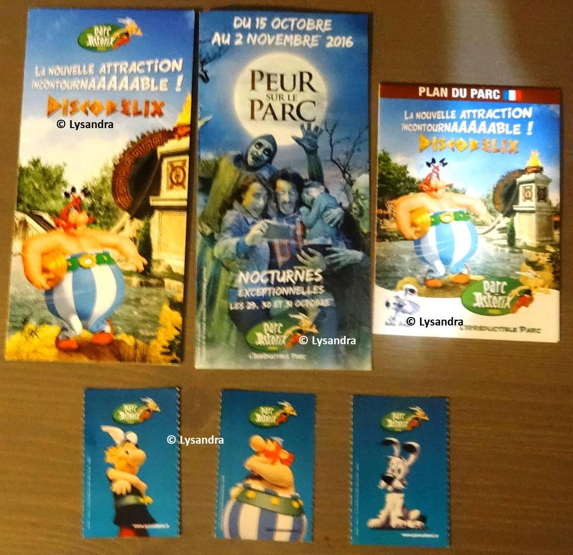 Dépliants, plans, tickets du Parc Astérix KKmDG