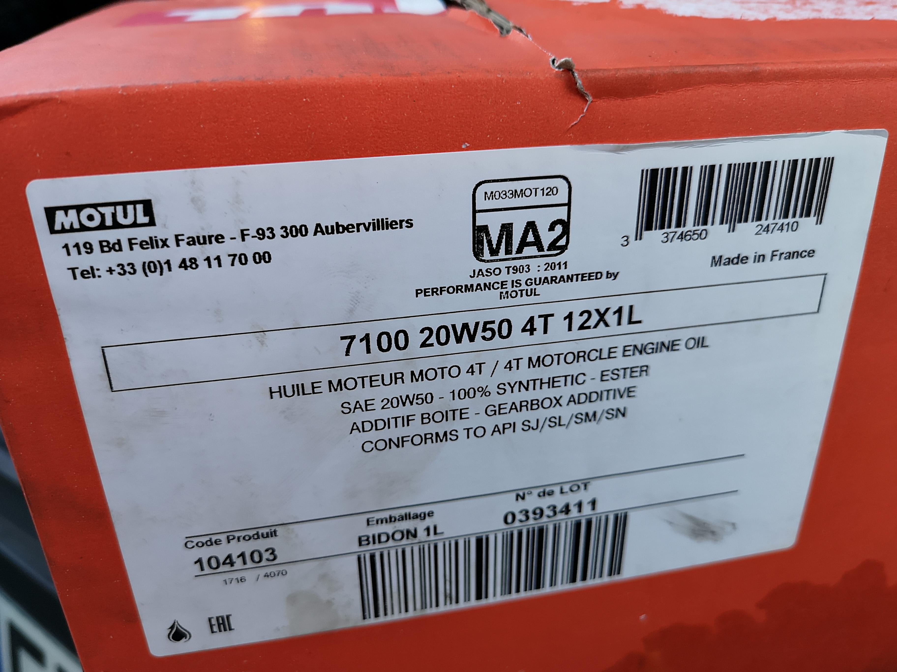 [A VENDRE] Bidons d'huile Motul 7100 20W50 1L NvG3J