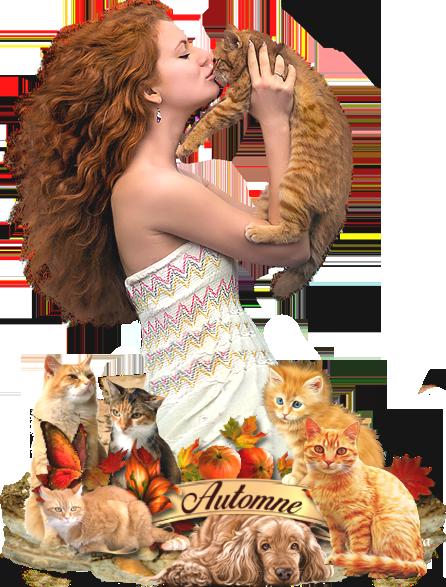 femme + chat