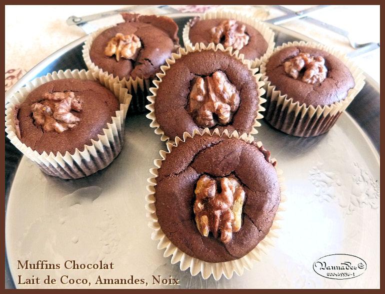 Muffins chocolat, noix et coco  Pour 9 muffins VZ29o