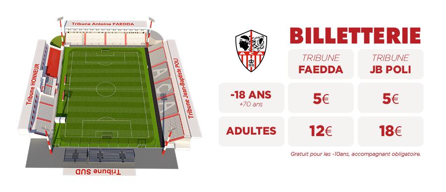 AC Ajaccio informations billetterie stade François-Coty