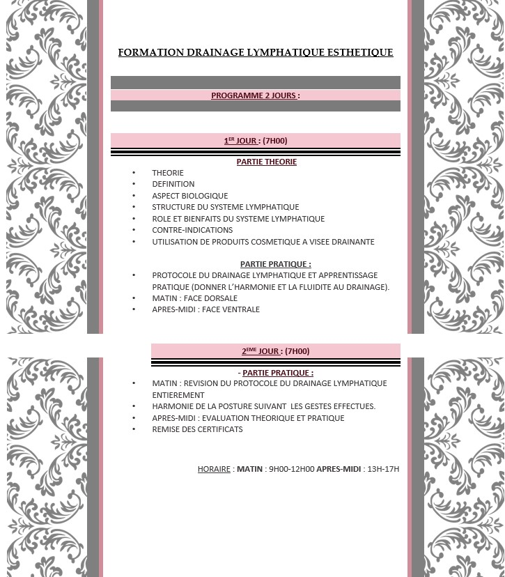 formation drainage lymphatique