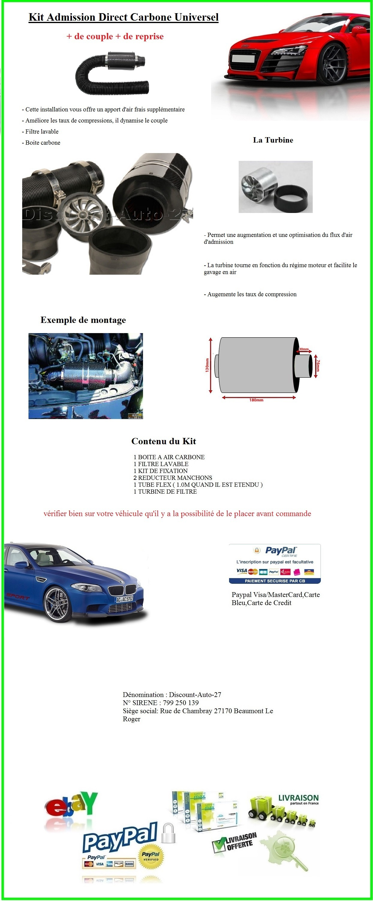 KIT ADMISSION DIRECT CARBONE DYNAMIQUE UNIVERSEL TYPE KN TUNING FIAT BARCHETTA